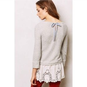 Postmark Lace Eyelet Skirt Grey Pullover Sweater S